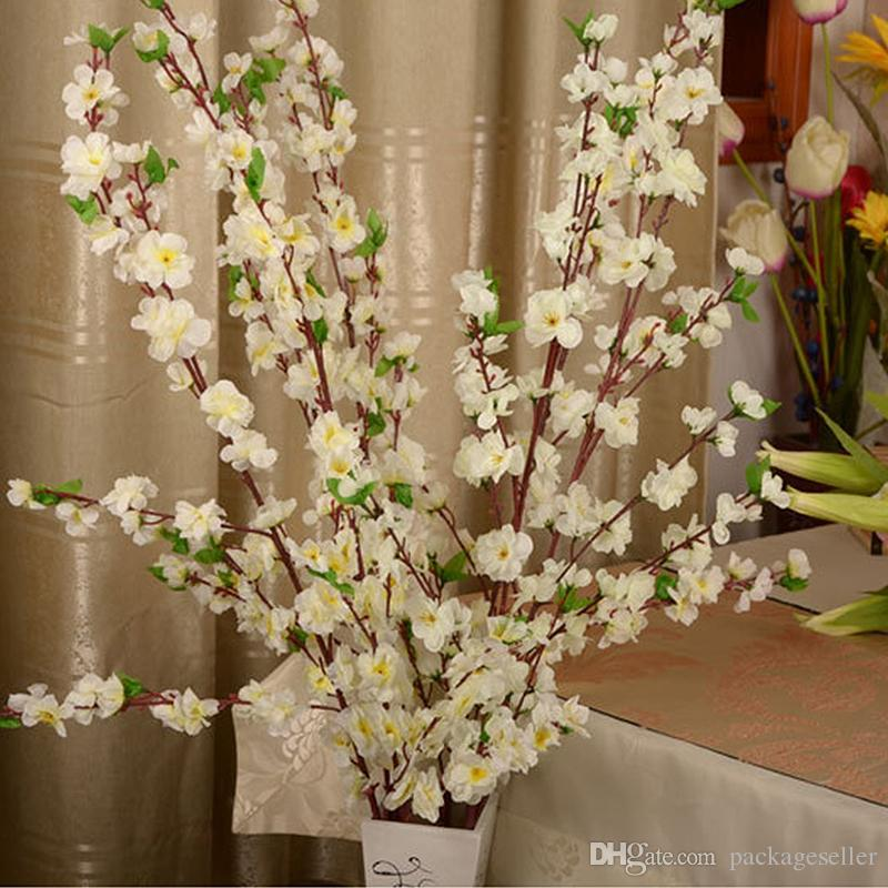 2018 artificial cherry spring plum peach blossom branch silk flower 2018 artificial cherry spring plum peach blossom branch silk flower tree for wedding party decoration white red yellow pink color from packageseller mightylinksfo