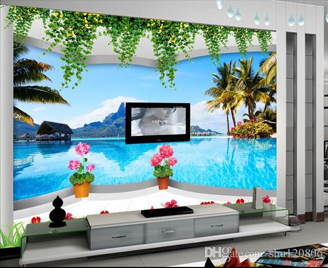3d room wallpaper custom photo mural mountain lake coconut resort decoration painting 3d wall murals wallpaper for walls 3 d living room