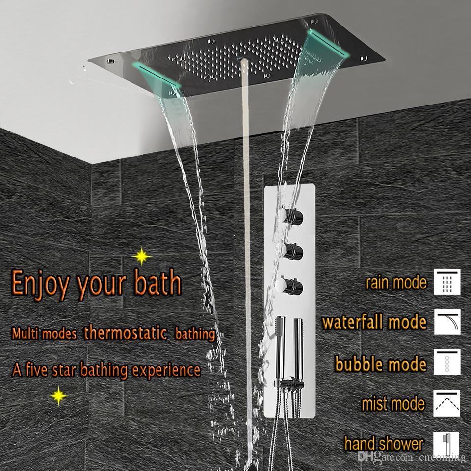 Chuveiro Termostática Painel de Aço Inoxidável LEVOU Cachoeira Chuva Grande Cabeça de Chuveiro Teto Torneira Do Banheiro Set Wall Mounted Chuvas Torneiras Unidade