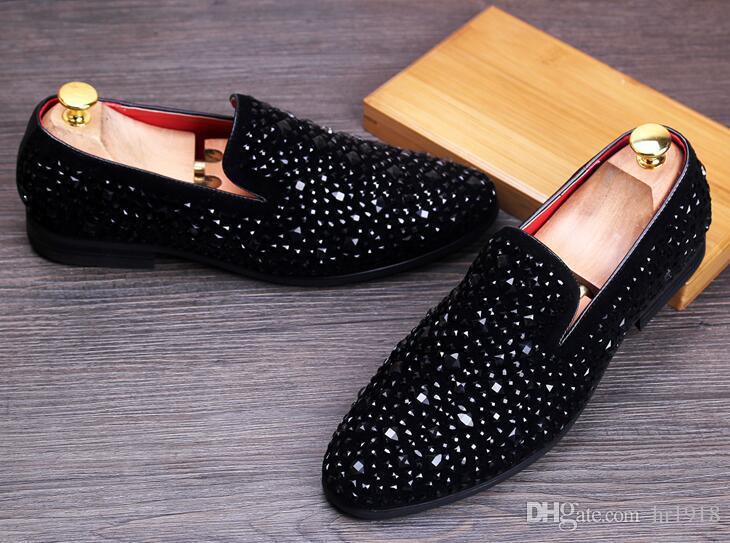 2017 New Dandelion Spikes Flat Leather Shoes Rhinestone
