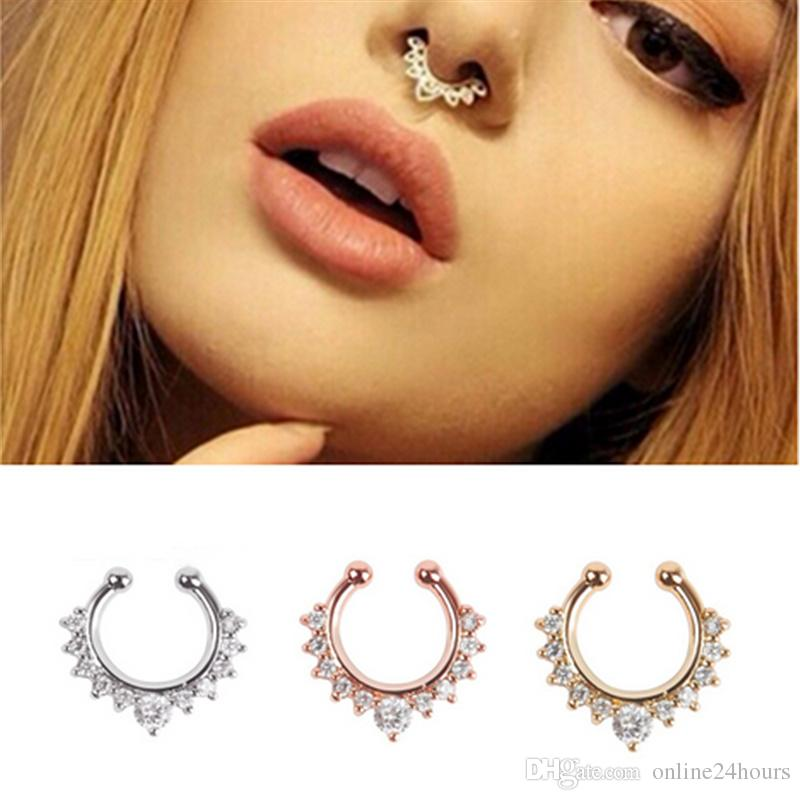 New Fashion 2017 Fancy Titanium Crystal Fake Nose Ring Septum Nose Hoop Ring Piercing Body Jewelry drop shipping Wholesale