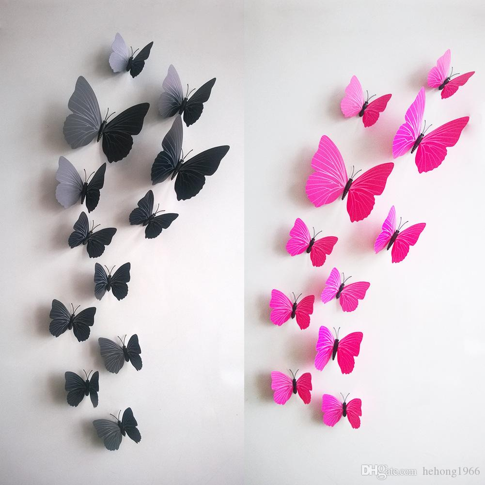 Simulation Colorful Butterfly 12 Pieces Inside Magnetic Brooch Decorative Wall Stickers For Bedroom Living Room 12 Colors Optional 2 3xx R