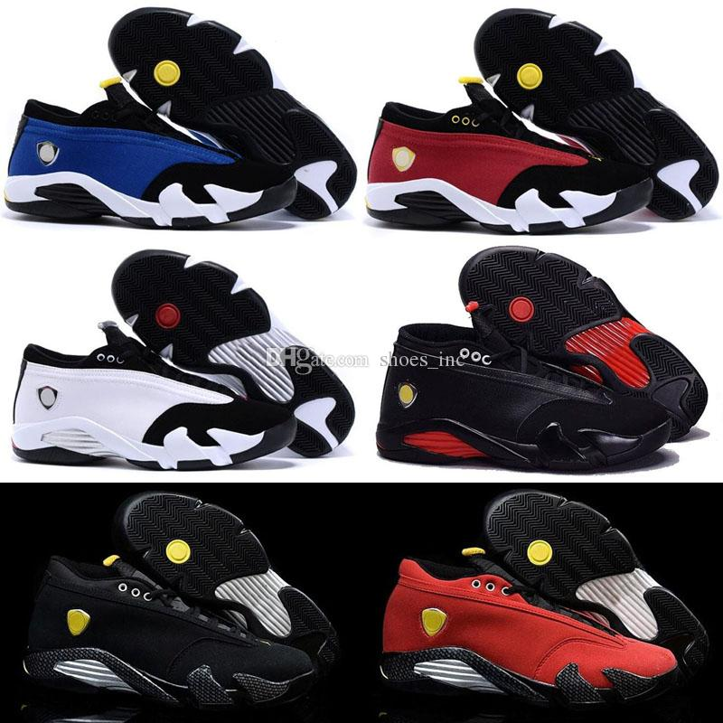 7092136d772f4e 2019 14 XIV Oxidized Green Indiglo Thunder Playoffs Black Toe Red Suede 14s  Men Basketball Shoes Sneaker Last Shot Sport Shoes From Shoes inc