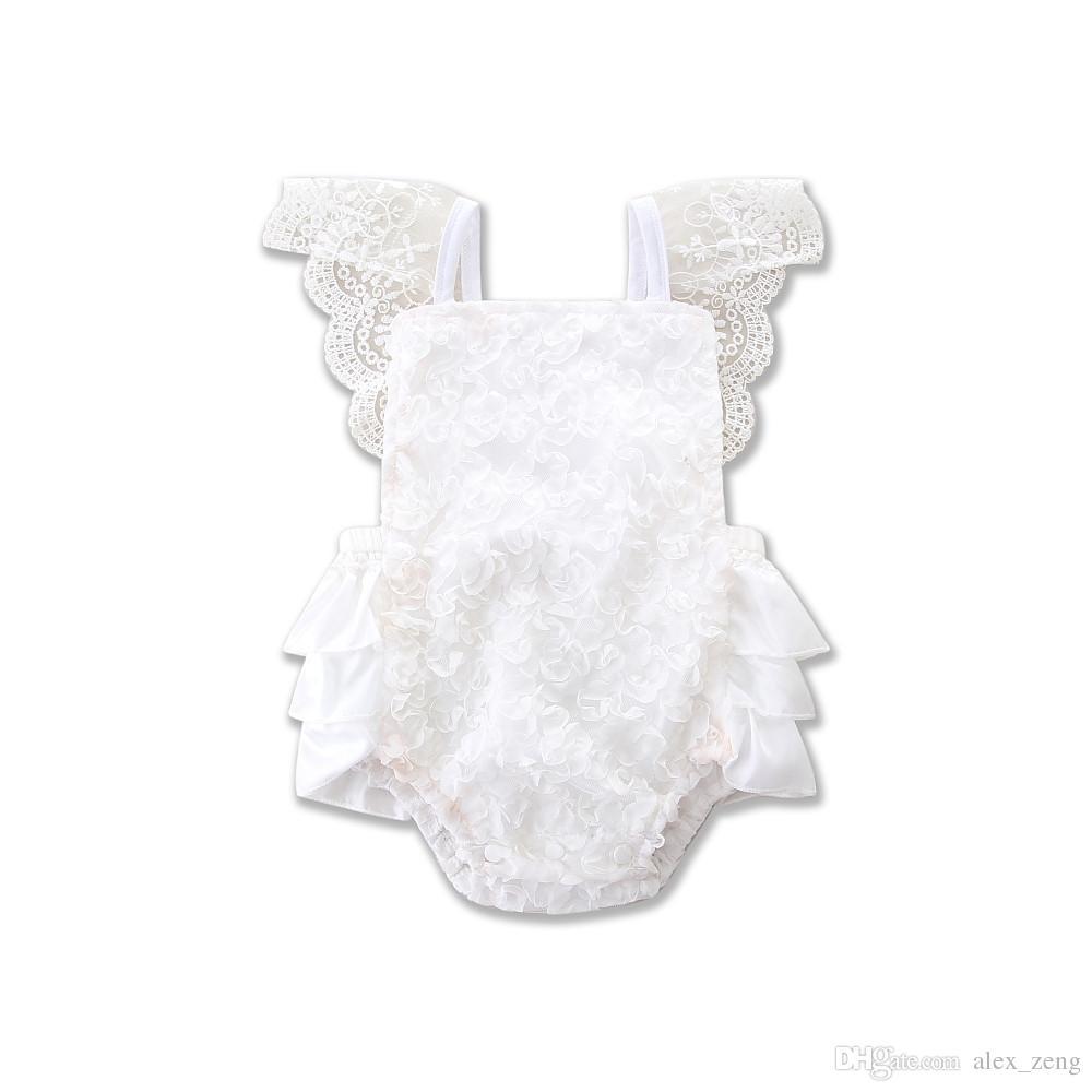 INS 2017 Été Toddler Vêtements Infantile Bébé Filles Blanc Dentelle Barboteuse Princesse Backless Ceinture Combinaison Sunsuit Une-pièce Tenues Enfants Vêtements