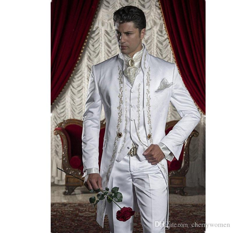 Mens White Tailcoat Embroidery Morning Suit Tails Jacket High ...