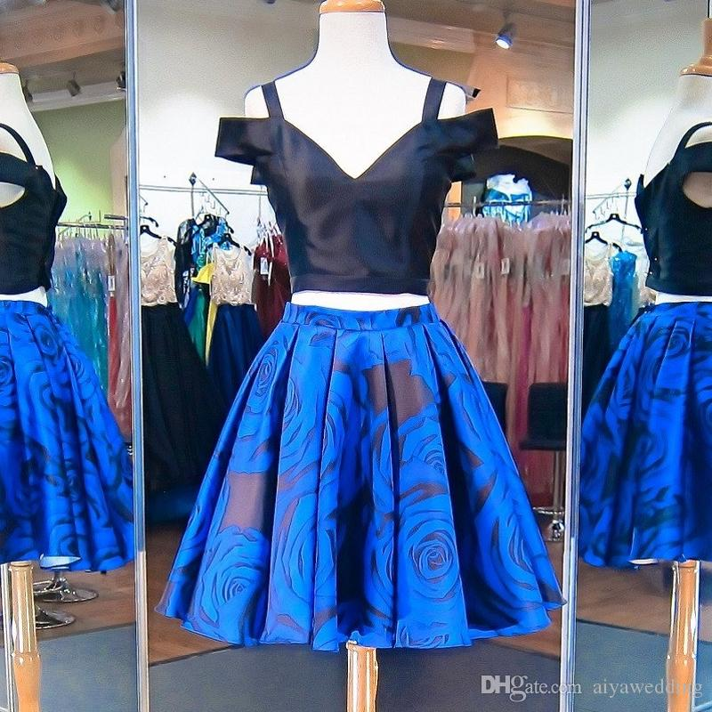 0a84237f3b6f Short Prom Dresses Off Shoulder Black Top And Royal Blue Floral Print Satin Formal  Homecoming Cocktail Party Gowns Cheal Real Photo Promdresses Short Prom ...