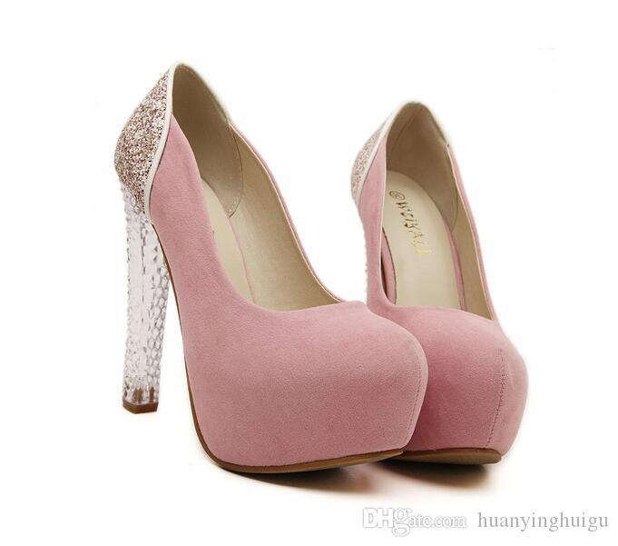 2017 New Girls Dress Pumps Pink Shoes Sexy High Heels Crystal Women Female Party Ladies Wedding SiaeUs3 8 Sx32 Summer Purple