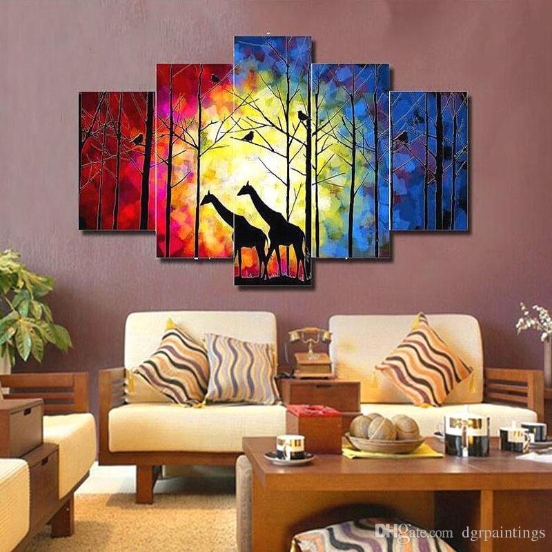 Großhandel Gerahmte 5 Panel Große Wand Kunst Hand Bemalt Moderne ...