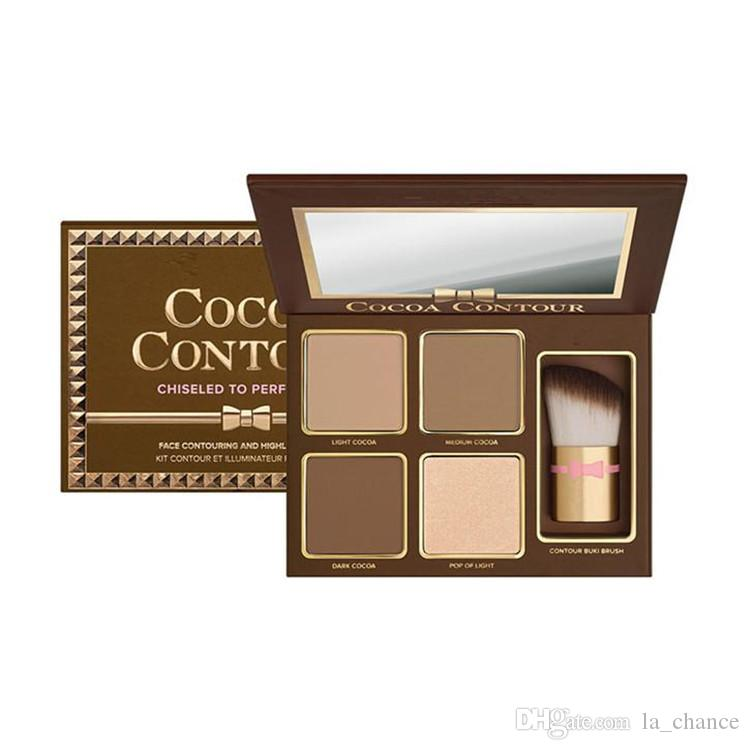 Hot COCOA Contour Kit 4 colores Bronceadores Highlighters Powder Palette Color desnudo Shimmer Stick Cosmetics Chocolate Sombra de ojos con cepillo