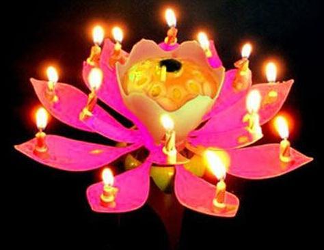 Vela de la flor de loto Flor hermosa Flor de loto Vela de la flor de loto Fiesta de cumpleaños Pastel de música Chispa Pastel Topper Velas giratorias Velas