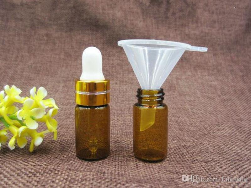 Envío gratis 3 ml Botella de gotero de vidrio de vidrio Botella de vidrio de color ámbar Botella de aceite esencial Frascos de perfume con gotero de vidrio y tapa de aluminio