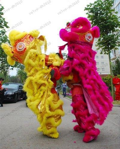 Costume da danza del leone Northern Style FRP Head Long Fur Event Ceremony Celebration Party Outfit Fancy Dress LLFA