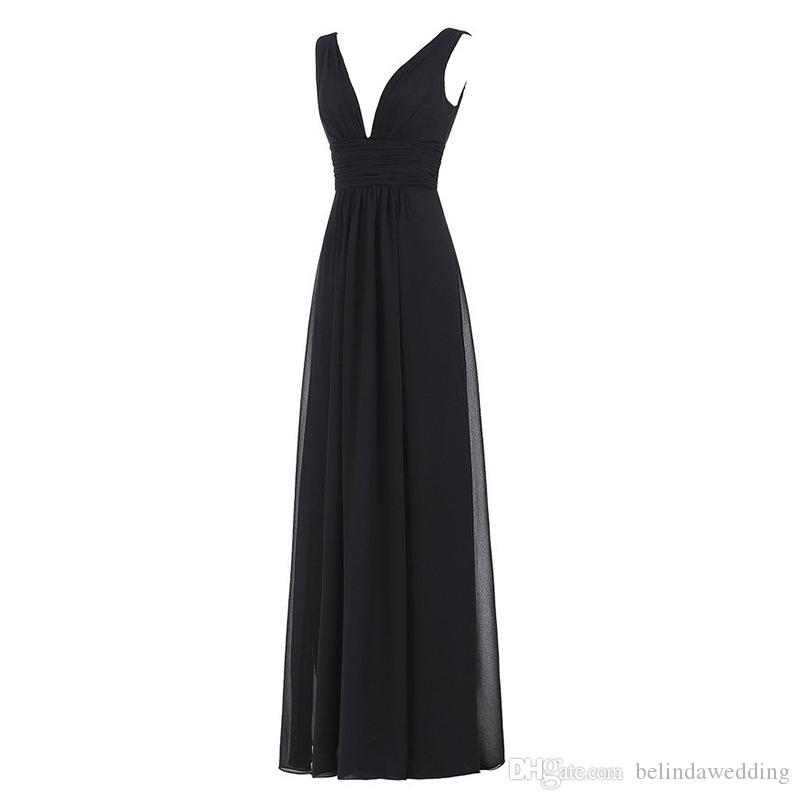 Cheap Bridesmaid Dresses Evening Wear A Line Chiffon Evening Prom Dresses Pleated Sexy Plunging V Neck Cap Sleeves Girls Party Formal Dress