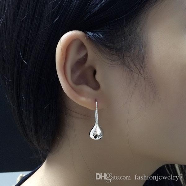Fashion American jewelry brass material dot shaped water drop earrings dangle earring anti allergy sterling silver ear pin spot jewellry
