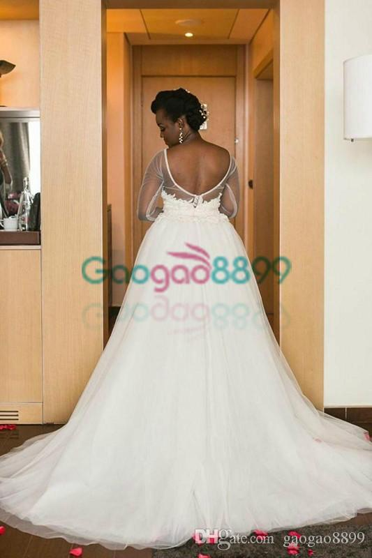 Illusion Long Sleeve High Low Beach Wedding Dresses with Detachable Train 2019 Backless Sexy African Short Lace Tulle Bridal Wedding Gowns