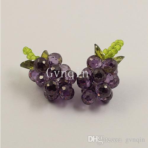 10 adet / grup mor kübik zirkonya üzüm demet kolye diy için jewelly