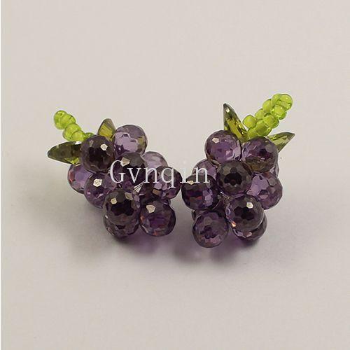 10 pz / lotto viola cubic zirconia uva ciondolo fai da te jewelly