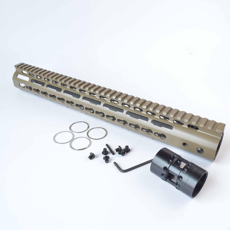 7,9,10,12,13.5,15 인치 초박형 프리 플로트 Keymod 핸드 가드 모노 리식 톱 레일 FDE / Tan 컬러 알루미늄 너트