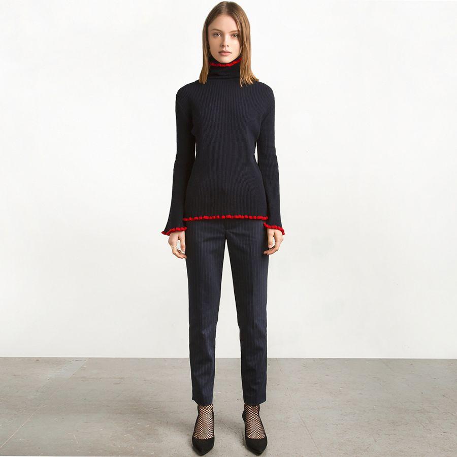 2017 Black Long Sleeve Casual Sweater Women Plus Size High Collar ...