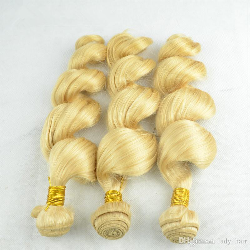 Loose Wave Blonde 13x4 Lace Frontal With Bundles Pure #Brazilian Loose Wave Human Hair Extensions With Full Lace Frontal