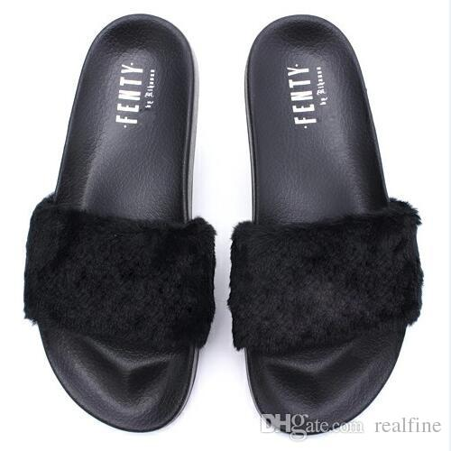 Acquista Hot Sell  Rihanna Fenty Leadcat Leadcat Leadcat Pantofole, Di Colore Nero   2a17ac