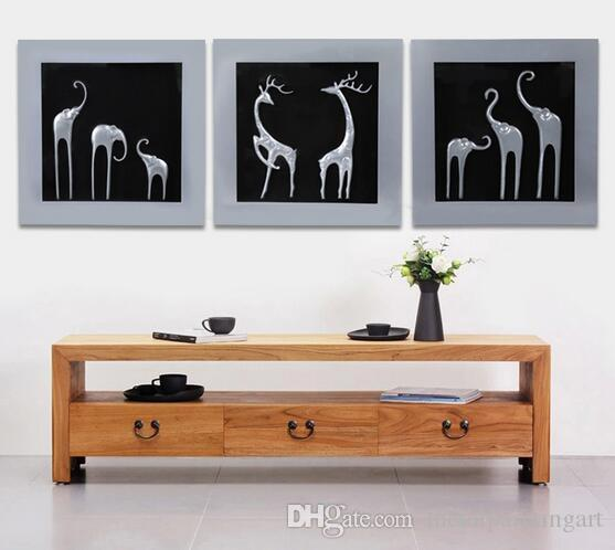 Livraison gratuite Cadre en bois fait main avec éléphant argent peinture murale Art Plaque pour salle à manger décoration
