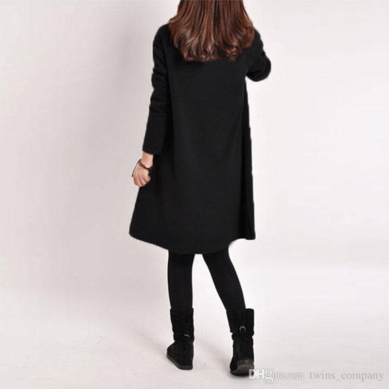 Annelik Sonbahar Kış Uzun Blusas 2017 Kadınlar Uzun Kollu Cep Elbise Katı O Boyun Rahat Gevşek Elbiseler Vestidos Artı Boyutu S-5XL