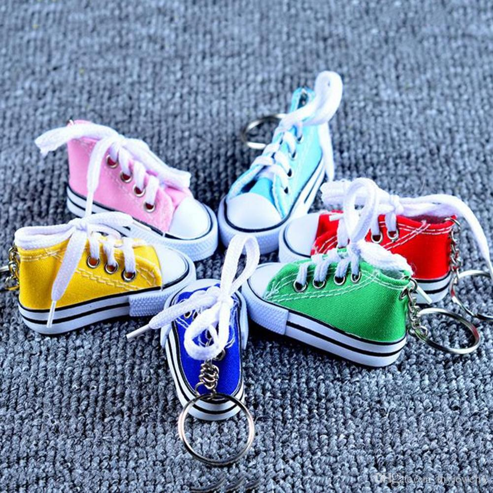 Colorful Women's Shoes Key Chains For Lovers Small Canvas Shoes Car Keychain Silver Plated Shoe Keyrings Key Holder SCD0040