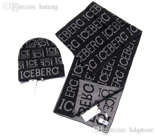 HOT SALE-discount hot mens males top quality iceberg 100% wool soft letters scarves scarf&hats mufflers two sets 2colors