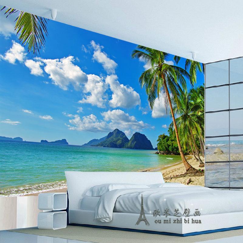 Wholesale blue sky palm beach wallpaper bedroom living for Beach wallpaper mural