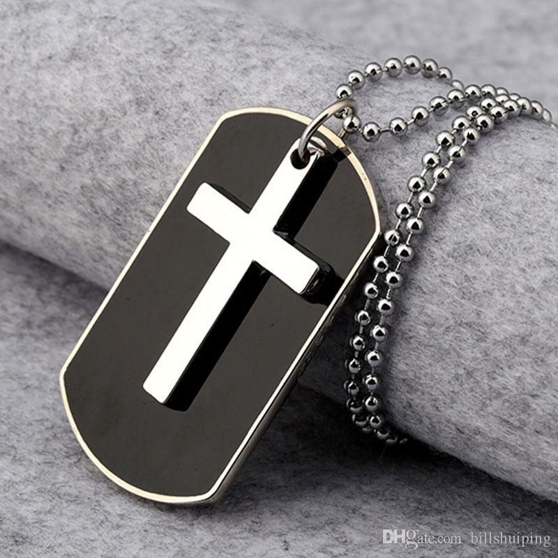 Wholesale gift unisex mens alloy dog tag cross pendant necklace see larger image audiocablefo