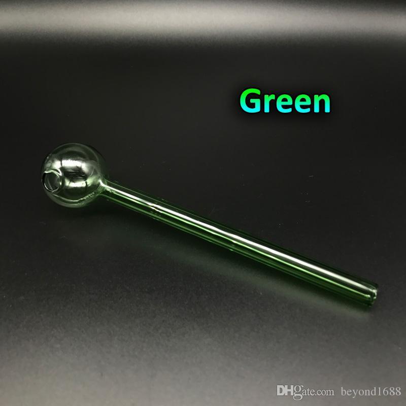 Sigara Aksesuarları 6.0inch 15CM Uzunluk Pyrex Cam Yağ Brülör Boru Temizle Pembe Mavi Yeşil Ucuz Cam Yağ Brülör Boru Su El Borular