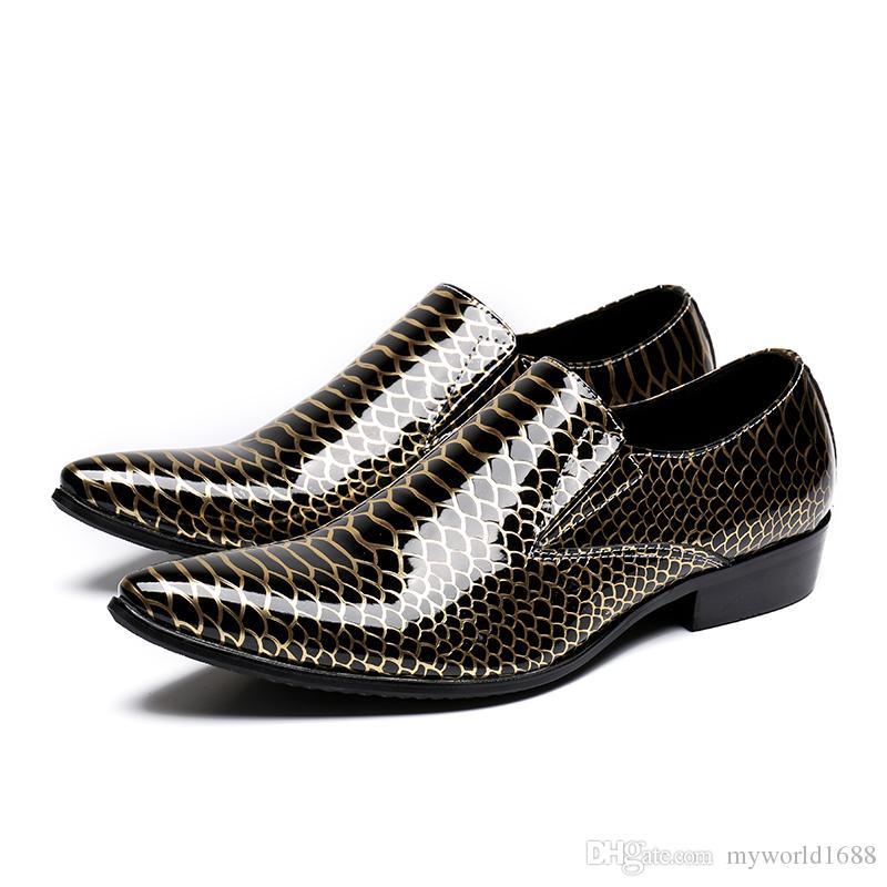 Pele de cobra Mens Sapatos Rasos Formais Suqare Saltos Dedo Apontado Zapatillas Hombre Brilhante Chaussure Homme