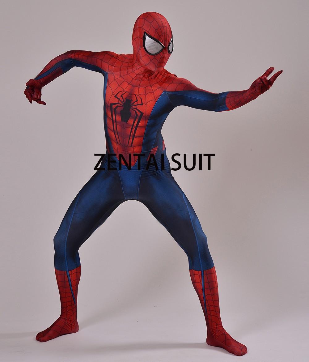 Spider-man Costume 3D Shade Spandex Spiderman Superhero Costume For Halloween And Cosplay Fullbody Zentai Suit Hot Sale