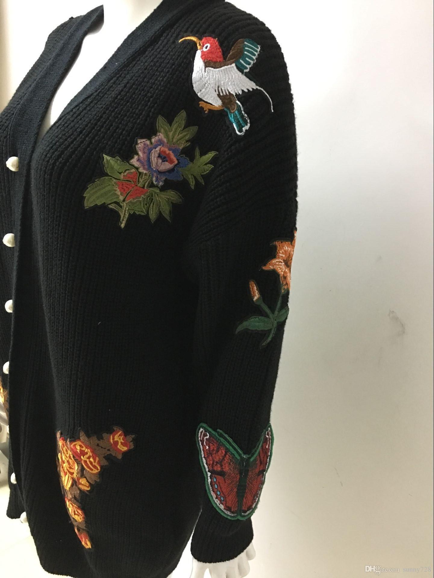2018 Nova Chegada Preto Camisola De Malha Casacos Moda Bordado Flores Mangas Compridas Magro Camisola Das Mulheres Cardigans Inverno Thicke com Botão