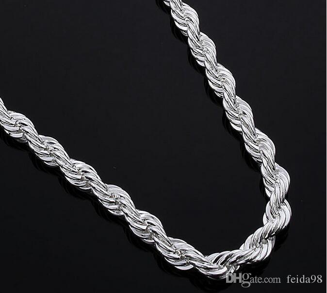 16-24inches NUOVI monili d'argento di arrivo 925 monili d'argento graziosi della collana della catena della corda di fascino 3MM di trasporto libero dell'argento sterlina