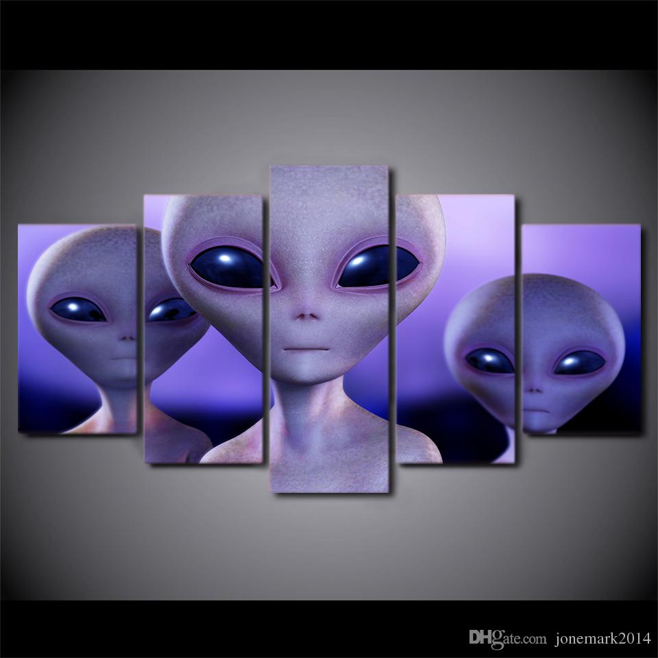 5 Pcs/Set Framed HD Printed Alien Science Fiction Illustrator Modern Home Wall Decor Poster Canvas Art Painting Wall Pictures
