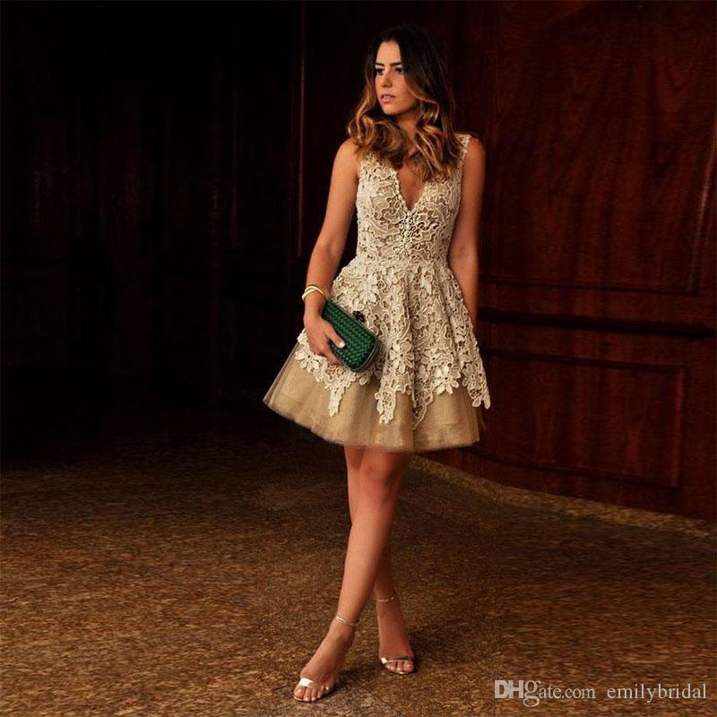 Sexy Lace Cocktail Dresses For Women Modest V Neck Mini Short Prom