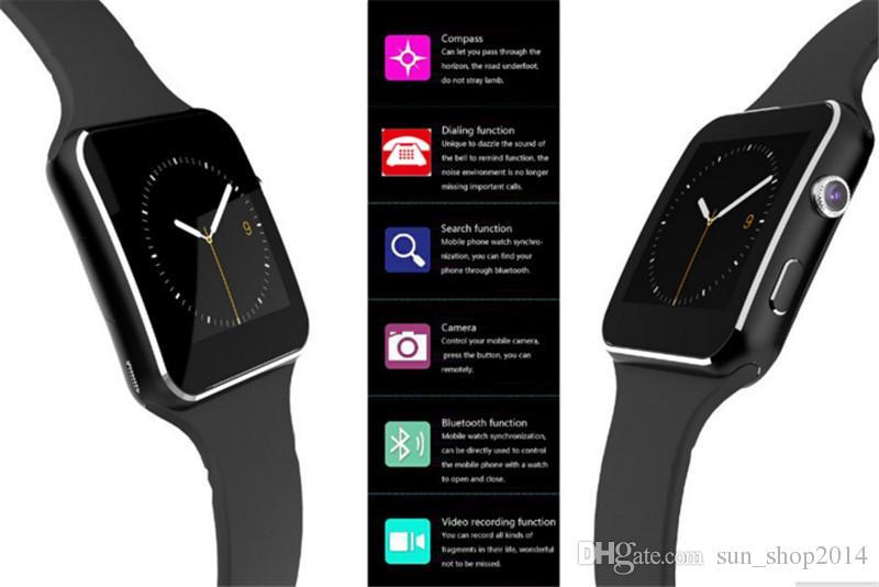 Curved Screen X6 Smartwatch Smart Watch Armband Telefon mit SIM TF-Kartensteckplatz mit Kamera für LG Samsung Sony alle Android-Handy