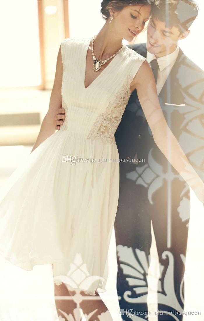 Уникальный дизайн Лучшие продажи линии колен кружева свадебное платье V-вырез декольте короткие шифоновые свадебные платья приемная до 100 $