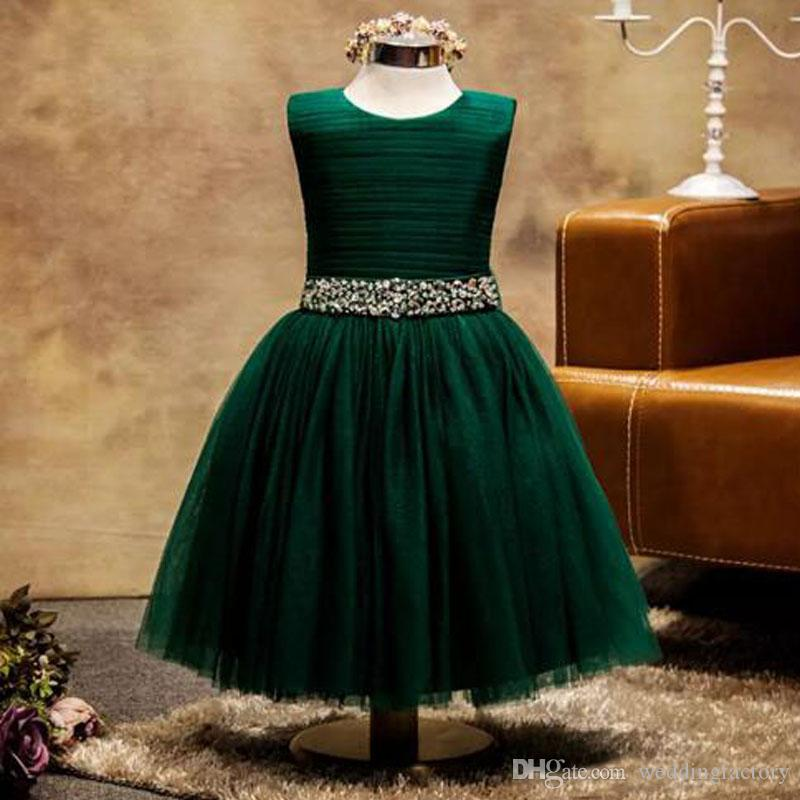 d0eb4085a Tulle Flower Girls Dresses 2017 Dark Green Jewel Neck Sleeveless Ruched Top  Crystals Beads Sequins Waist Ankle Length Kids Dress With Bow Flower Girl  ...