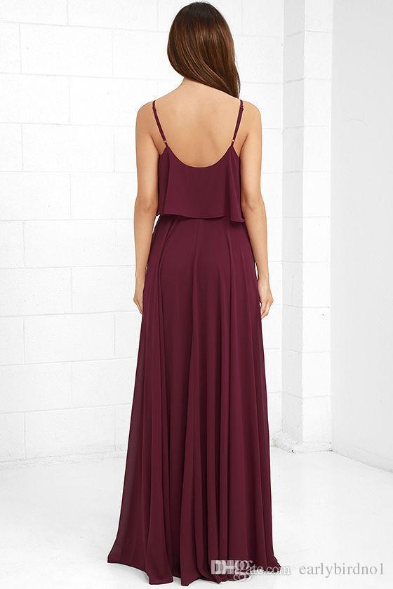 Correas de Borgoña espaguetis gasa vestidos de dama de honor 2017 una línea de cuello en V profundo profundo con espalda baja vestidos de dama de Honor barato vestidos de fiesta de boda