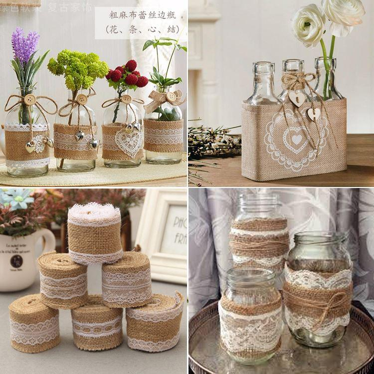 Vintage Decorating Ideas For Weddings: 2 Meter 5cm Jute Burlap Rolls Hessian Ribbon With Lace