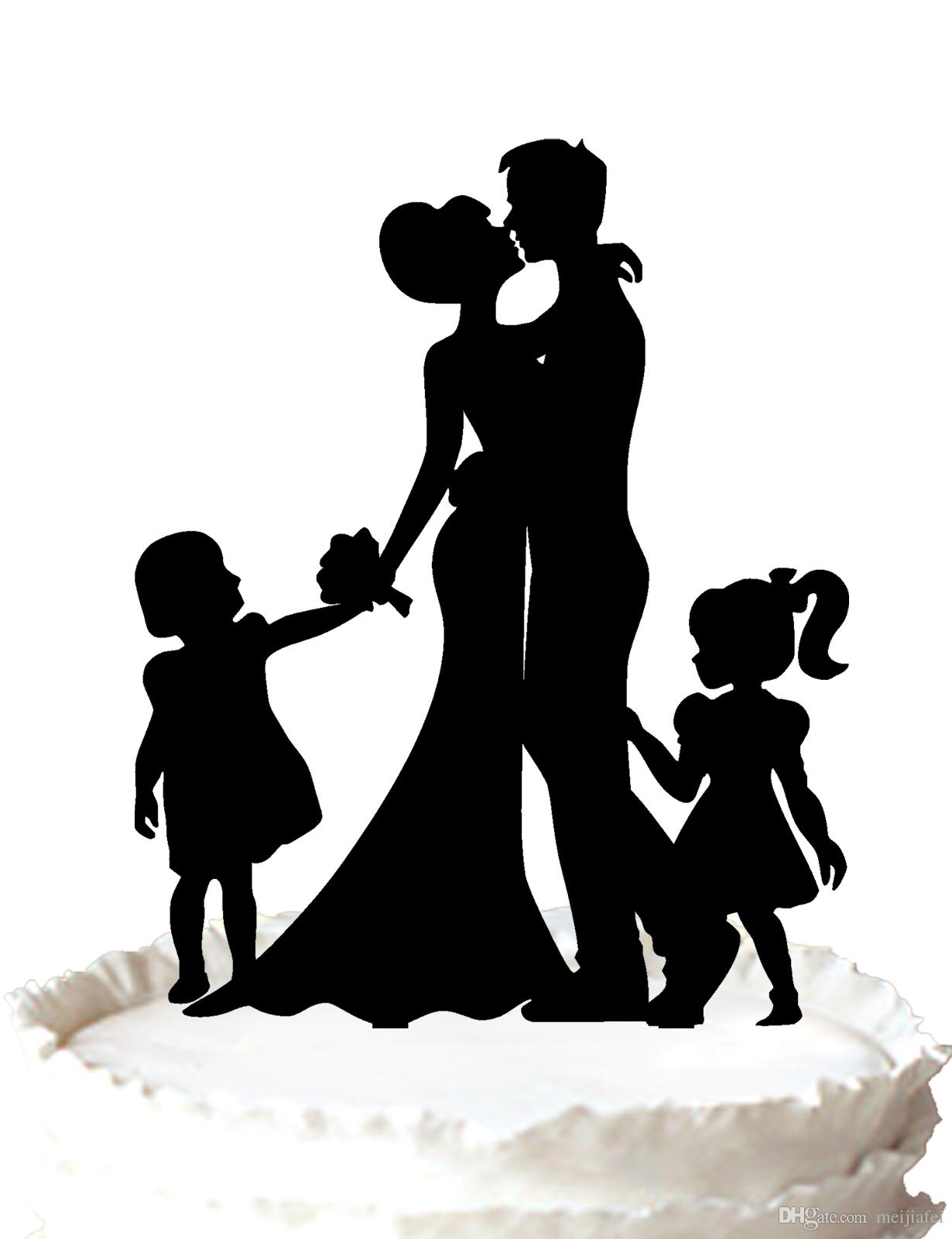 2018 Family Wedding Cake Topper Silhouette Bride And Groom Kiss