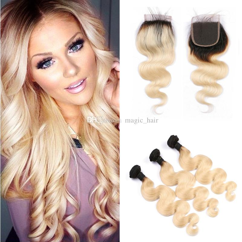 Ombre Hair Extensions With Lace Closure 1b 613 Platinum Blonde Dark