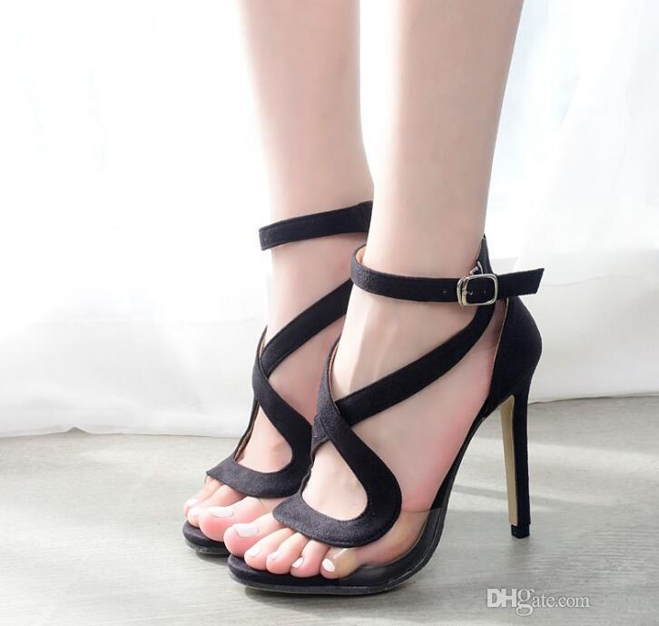 US5-9 Yeni Gladyatör Tarzı kadın yüksek topuklu Toka Askı Stiletto Cut-Çıkışları sandalet bayanlar ünlü Seksi ayakkabı kadın Siyah aa302
