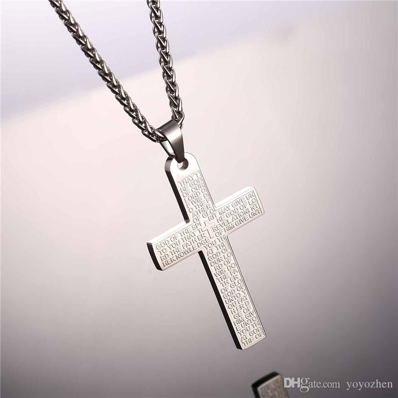 الكتاب المقدس الصليب القلائد المعلقات جودة عالية الفولاذ المقاوم للصدأ الكتاب المقدس الآية اللاتينية الصليب مجوهرات للنساء الرجال