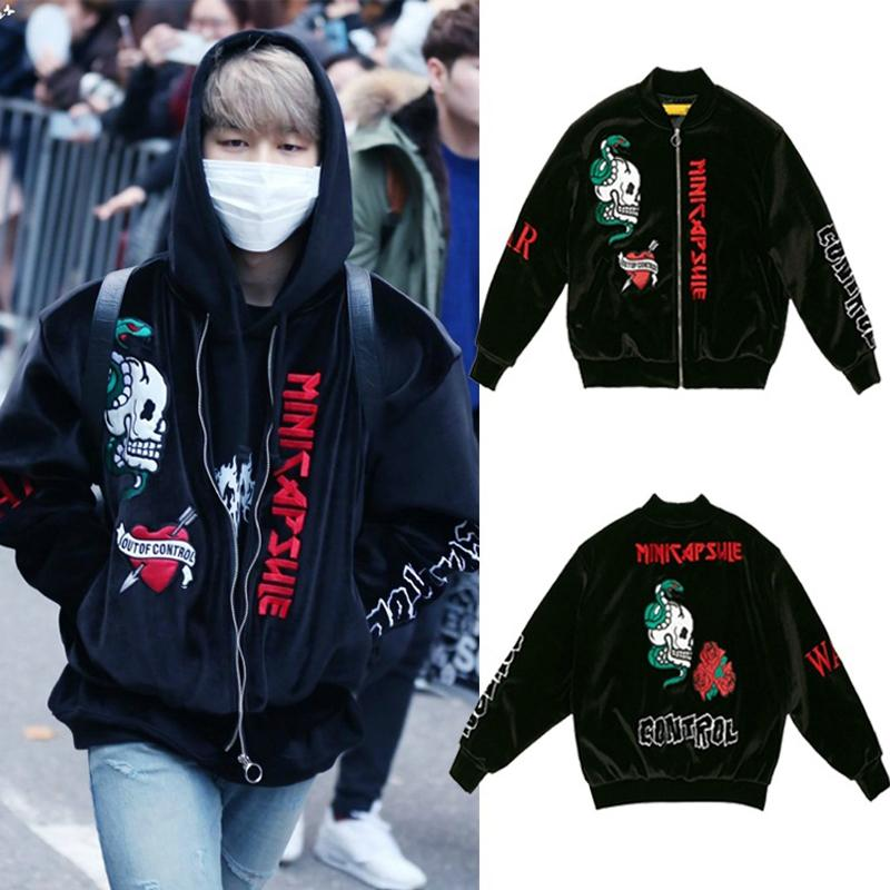 cd39d664d53724 Wholesale KPOP BTS JIMIN Velvet Embroidery Padded Coat Bangtan Boys Varsity  Jacket Outwear Jacket Jackets Man Topshop Womens Jackets From Keviny