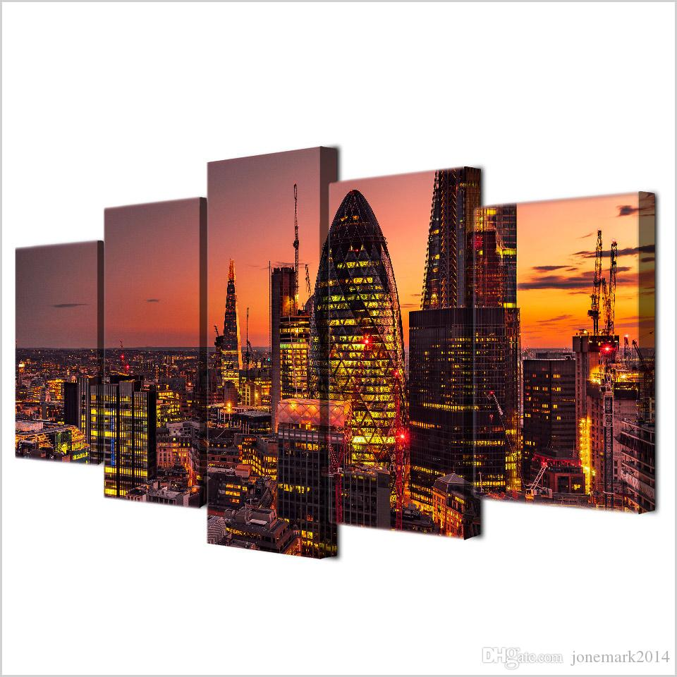 Framed HD Printed London Lights City Building Canvas Art Modern Painting Poster Home Decor Wall Painting Picture
