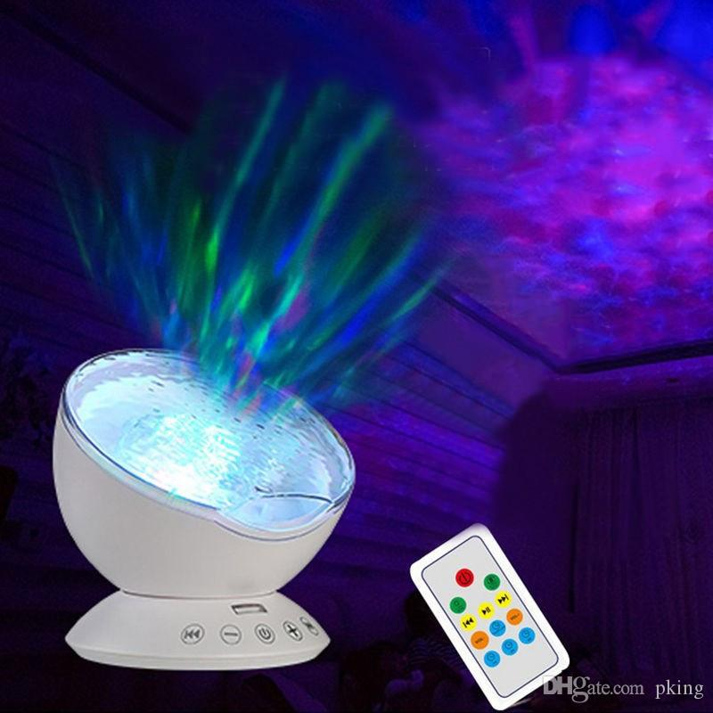 Ocean Wave Led Projector Nightlight Baby Sleeping Night Lamps + IR Remote Control RGB Led with Built-in Speaker for Kids